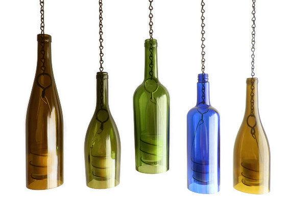 lampara de velas con botella